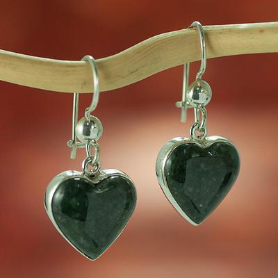 Hand Made Heart Shaped Sterling Silver Dangle Jade Earrings, 'Wild Heart'