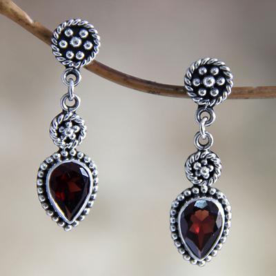 Hand Made Sterling Silver and Garnet Dangle Earrings, 'Balinese Jackfruit'