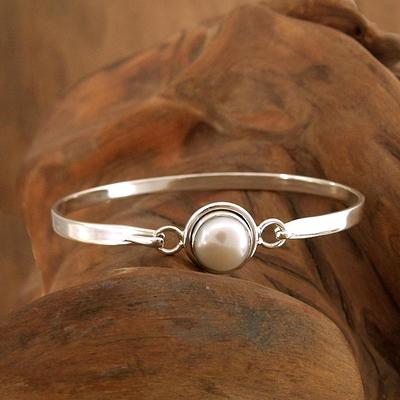 Handcrafted Indian Sterling Silver Bangle Pearl Bracelet