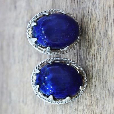 Lapis Lazuli Stud Earrings in Sterling Silver