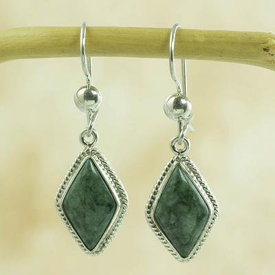Handcrafted Light Green Jade Earrings, 'Maya Life'
