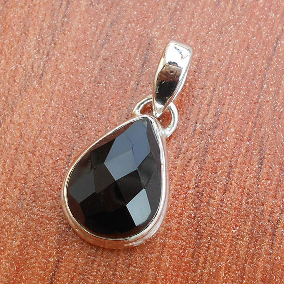 Handcrafted Pendant, Black Onyx Pendant, Sterling Silver Pendant, Bezel Set Pendant, Faceted Pendant, Birthstone Pendant, Gemstone Jewelry