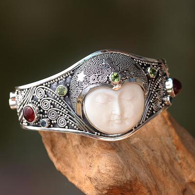 Handmade Cuff Bracelet with Gemstones, Bone, and Silver