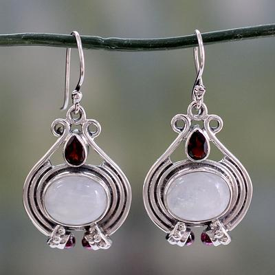 Handmade Rainbow Moonstone and Garnet Earrings, 'Mysterious Mist'
