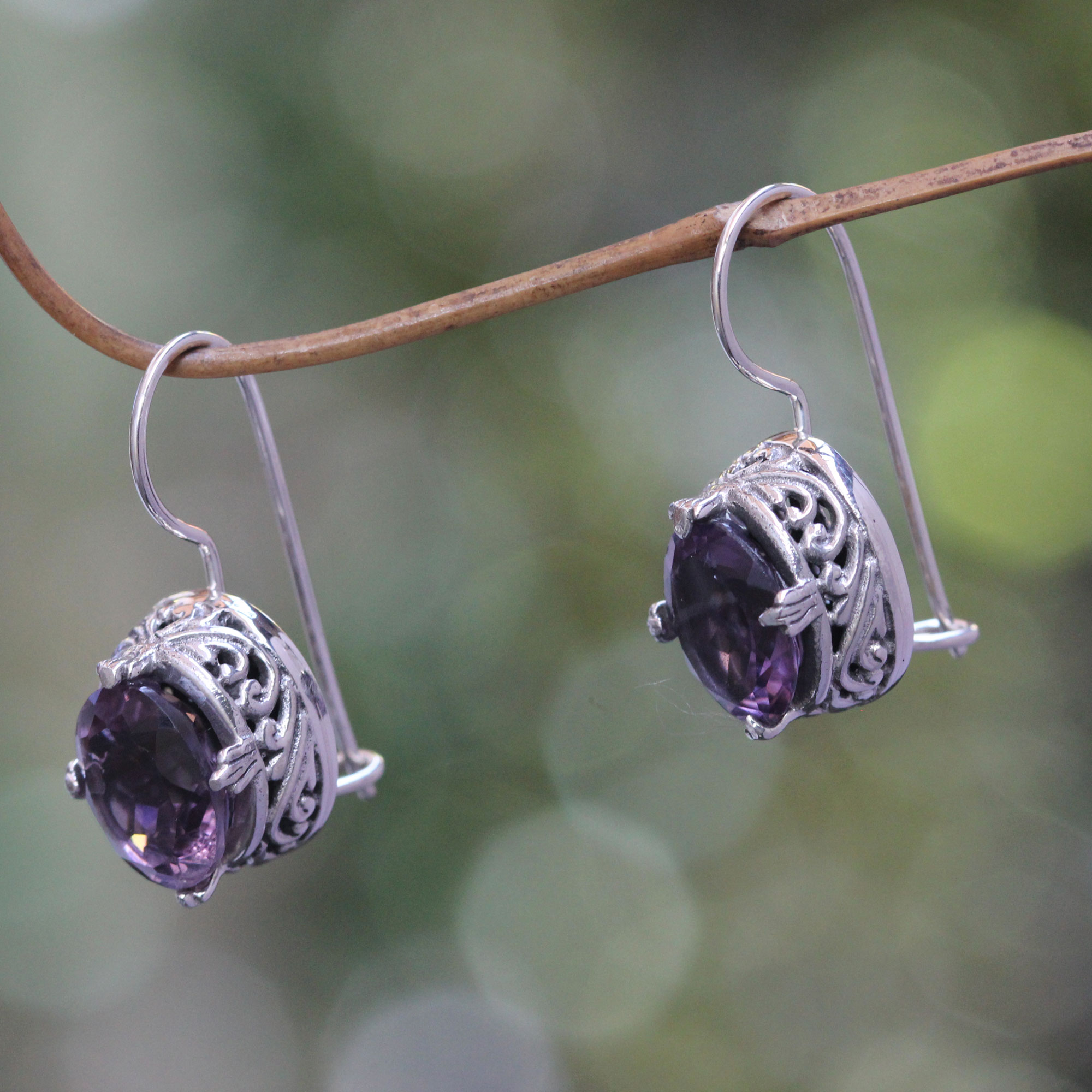 Handmade Sterling Silver Amethyst Drop Earrings, 'Angel'