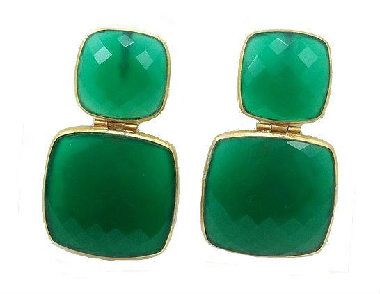 Handmade gemstone earrings Green onyx Black onyx 925 Sterling silver Gemstone jewelry Womens' semi-precious stone jewelry Dangle earrings