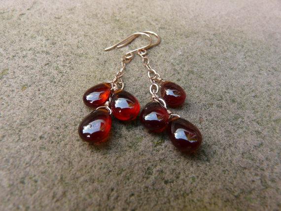 Hessonite Garnet Gemstone Rose Gold Earrings. Cascade Earrings. Dangle Earrings. Gemstone Earrings. Waterfall Earrings