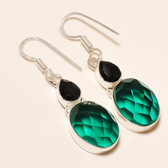 Hydro In Handmade Silver Gemstone Earrings - Checker Board Earrings - Dangle Earrings