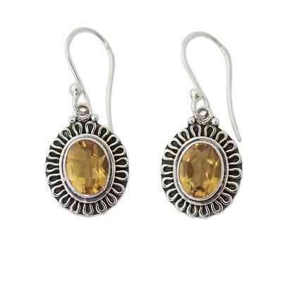 India Artisan Crafted Faceted Citrine Earrings, 'Golden Charm'