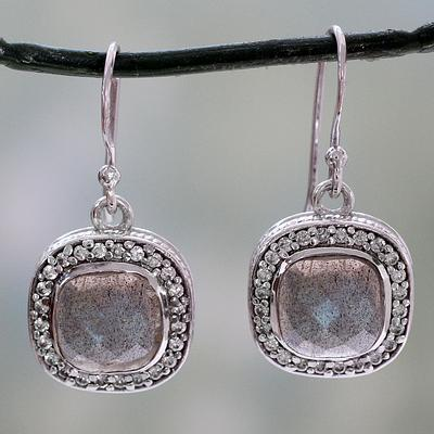 India Artisan Crafted Labradorite CZ Earrings with Silver, 'Starlight and Mist'
