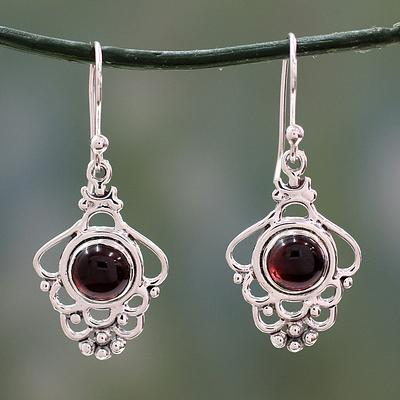 India Artisan Jewelry Sterling Silver and Garnet Earrings, 'Cascading Beauty'