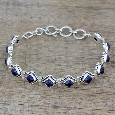 Lapis Lazuli and Sterling Silver Tennis Bracelet