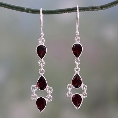 Indian Fair Trade Garnet and Sterling Silver Earrings, 'Mystic Wonder'