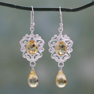 Indian Silver Dangle Earrings with 5 Carats of Citrine, 'Golden Dewdrops'