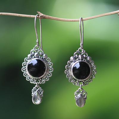 Indonesian Sterling Silver Onyx Dangle Earrings, 'Midnight Tears'