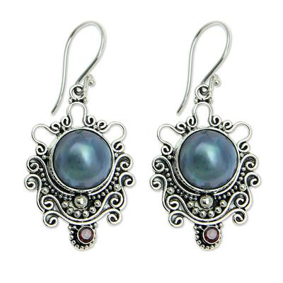 Indonesian Sterling Silver and Pearl Dangle Earrings, 'Bandung Blue Moon'