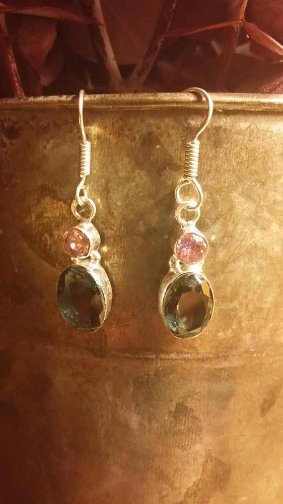 Iolite Earrings Sterling Silver Earrings Oval Earrings Multistone Earring GemStone Earring Dangle Earrings Pink Topaz