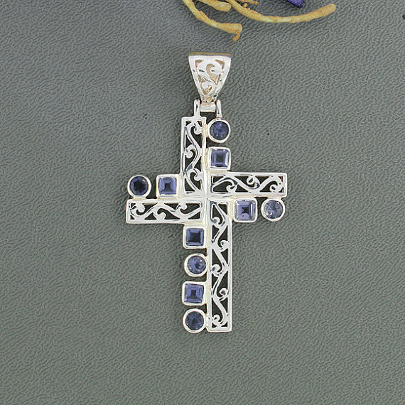 Iolite Gemstone Pendant, Set in Sterling Silver Jewelry, Designer Cross Pendant Jewelry