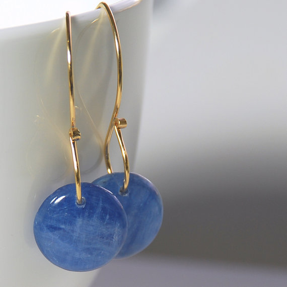 Kyanite Drop Earrings. Blue Gemstone Earrings. Blue Kyanite Gold Filled Earrings