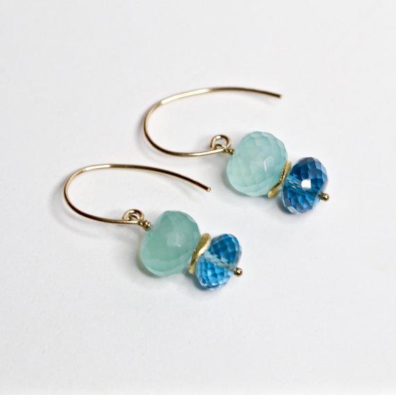 LONDON BLUE TOPAZ earrings aqua chacedony earrings dember birthstone tooaz jewelry aqua chalcedony jewelry simple modern holiday gifts