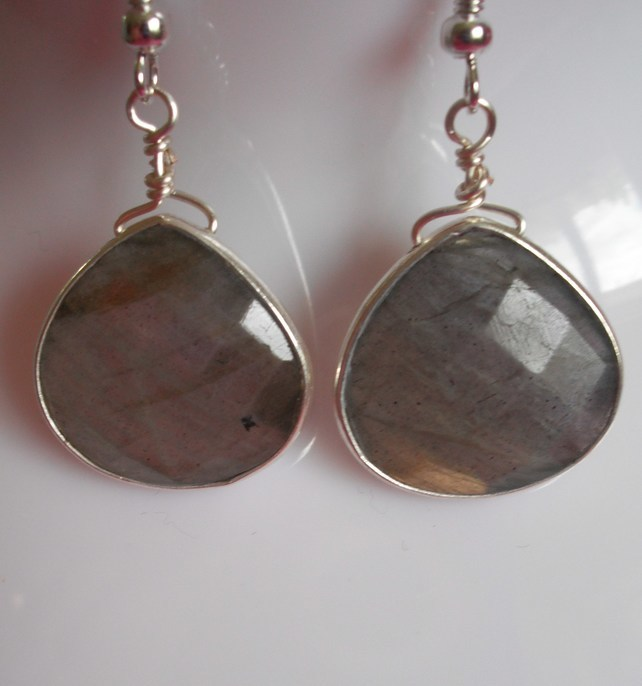 Laboradite and sterling silver drop earrings
