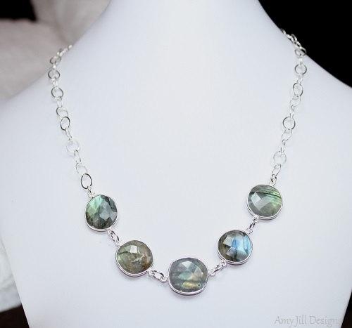 Labradorite Bezel Necklace, Sterling Silver Bezel Stones, Labradorite Jewelry, Sterling Silver Chain, Grey Gemstone Jewelry