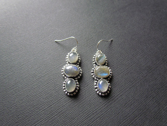 Labradorite Earrings  Silver Gemstone Earrings  Round Circle Stone Earrings