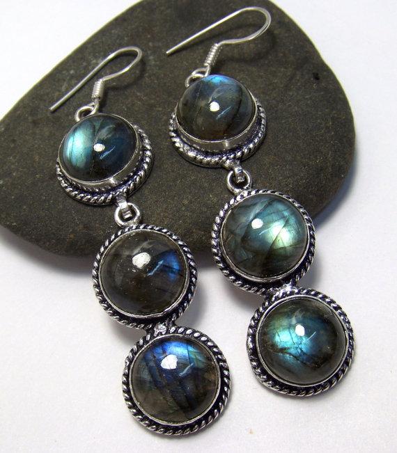 Labradorite Earrings, Silver Labradorite Earrings, Gemstone Earrings, Boho Earrings, Dangle Earrings