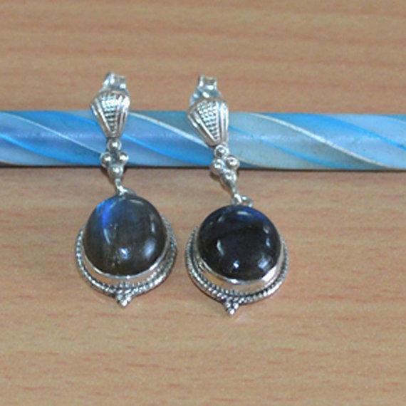 Labradorite Gemstone Earrings Labradorite Studs,Labradorite Gemstone, Wedding Jewelry,Christmas Gift, Sterling Silver Earring