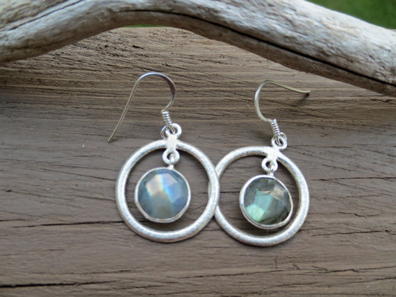 Labradorite Gemstone Earrings, Dangle Labradorite Earrings, Labradorite Jewelry , Round Hoop Earrings ,