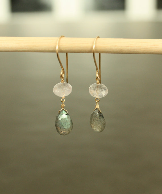 Labradorite and Amethyst Earrings