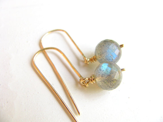 Labradorite earrings, gold earrings, gemstone earrings,