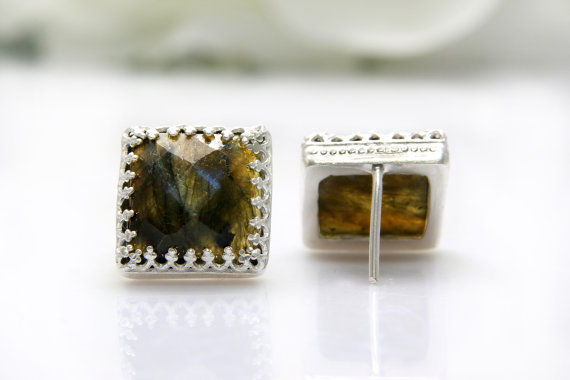 Labradorite earrings,silver earrings,gemstone earrings,bridal earrings,post earrings,square earrings