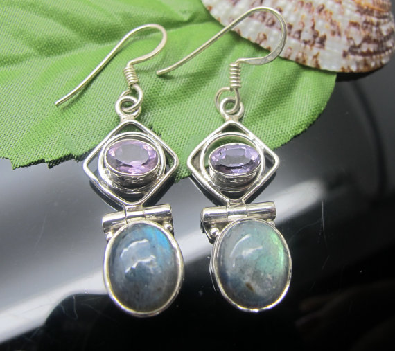 Labradorite moonstone and sterling silver earrings, labradorite earrings, moonstone earrings, sterling silver earrings, gemstone earrings