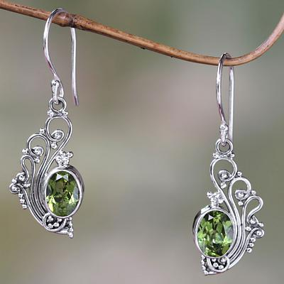 Lacy Peridot and Sterling Silver Dangle Earrings, 'Green Peacock's Feather'