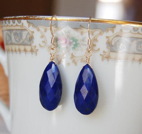Lapis Lazuli Earrings , Gemstone Earrings , Gold Filled Lapis , Blue Gold Dangle Earrings