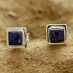 Lapis Lazuli Earrings Handmade Sterling Silver Jewelry India, 'Hindu Galaxy'
