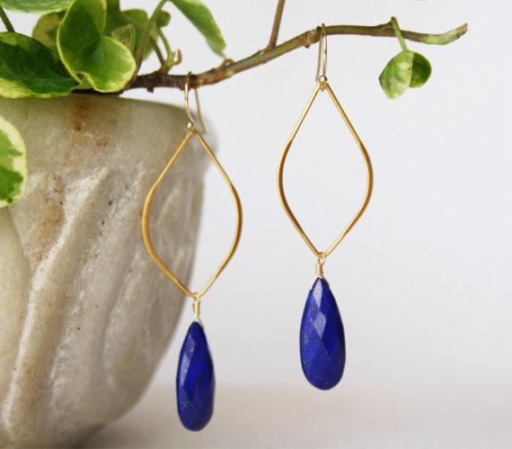 Lapis Lazuli Hoop Earrings - Gemstone Earrings - Dangle Gemstone Earrings