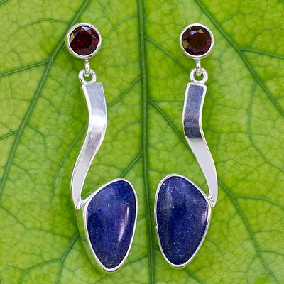 Lapis Lazuli Silver Earrings with Garnet, 'Being Bold