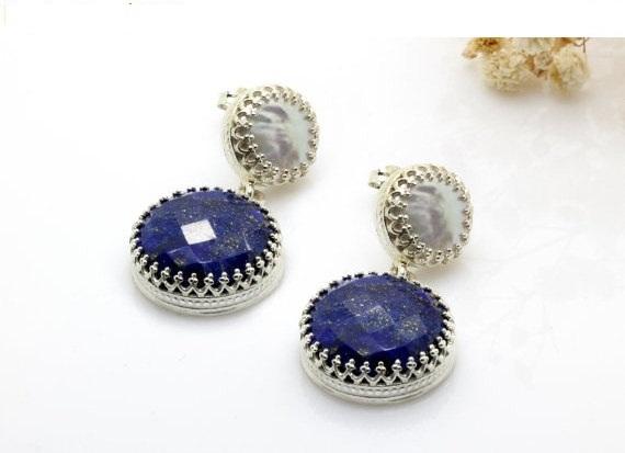 Lapis earrings,long dangle earrings,gemstone earrings,pearl earrings,hammered pearl,silver earrings