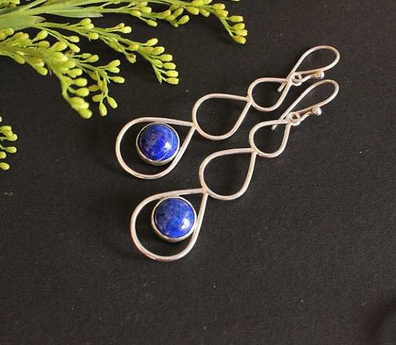 Lapis lazuli earrings- Lapis earrings - Graduated- Bezel set earrings - artisan earrings- Gemstone earrings