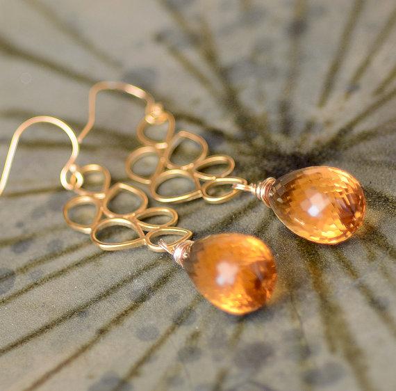 Large Citrine Briolette Gold Earrings. Sunlit Citrine Gemstone Earrings. NOVEMBER Birthstone. Citrine Teardrops Earrings. Luxury Jewelry.