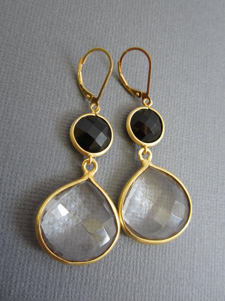 Large Clear Quartz Earrings, onyx earring, 2 tier Long dangling earrings, Lever back earring, Black and white jewelry