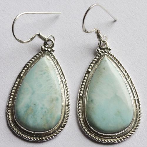 Larimar Gemstone Earring 925 Solid Silver Handmade Jewelry