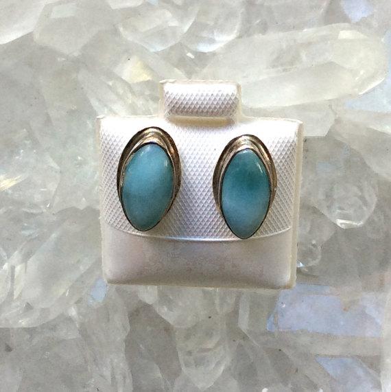 Larimar Stud Earrings Larimar Jewelry Larimar Gemstone Earrings Gemstone Jewelry Caribbean Jewelry Ocean Jewelry Stud Earrings