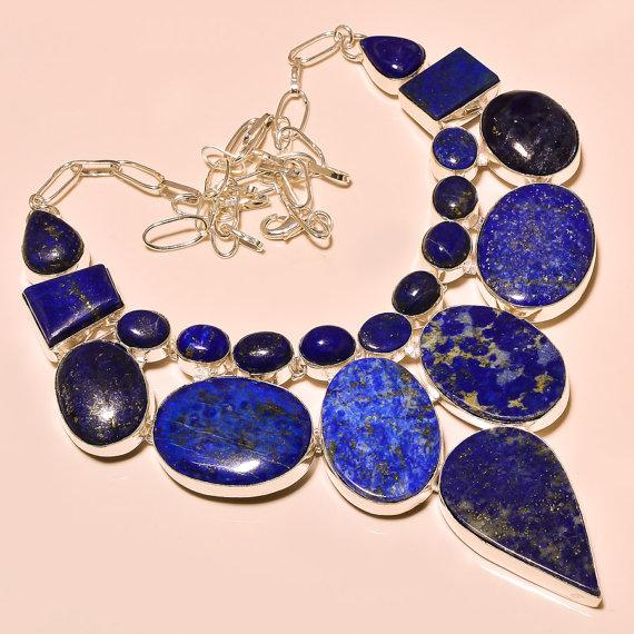 Lavish Lapis Lazuli Gemstone .925 Sterling Silver Charm Necklace
