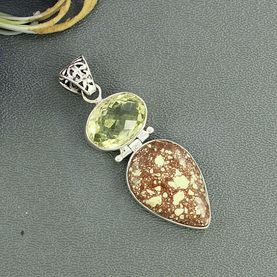 Lemon Chrysoprase & Lemon Quartz Pendant, Solid 925 Sterling Silver Jewelry, Lemon Pendant, Bezel Set Designer Silver Gift Jewelry