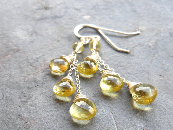 Lemon Quartz Earrings Long Dangle Earrings, Vanilla Chain Earrings, Sterling Silver