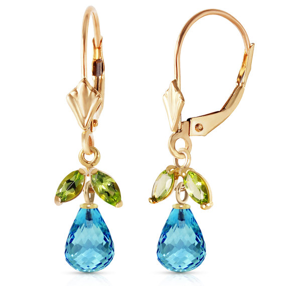 Leverback Earrings with Blue Topaz & Peridots Fine Jewelry  Gemstone Earrings Birthstones Yellow Gold, White Gold, Rose Gold