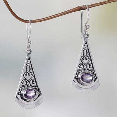 Lilac Amethyst and Sterling Silver Dangle Earrings from Bali, 'Mount Agung Lilac'